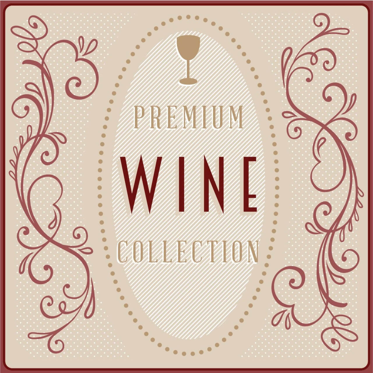 """Free vector """"Wine card with floral decorations"""""""