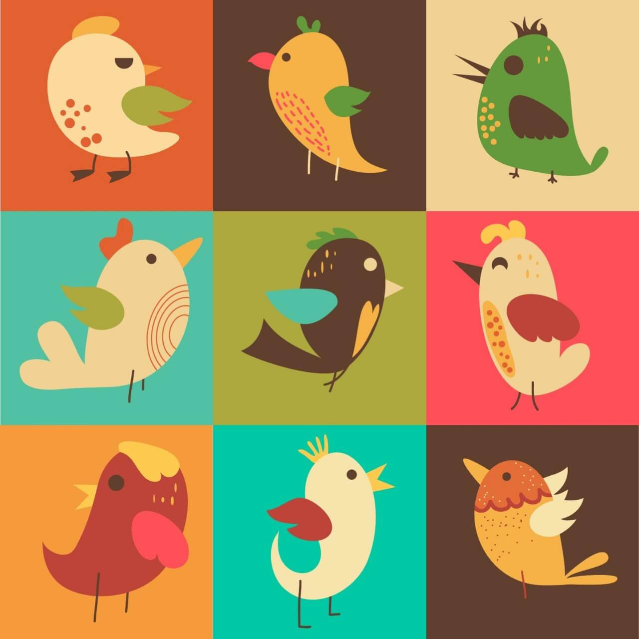 "Free vector ""Cute vector set of birds"""