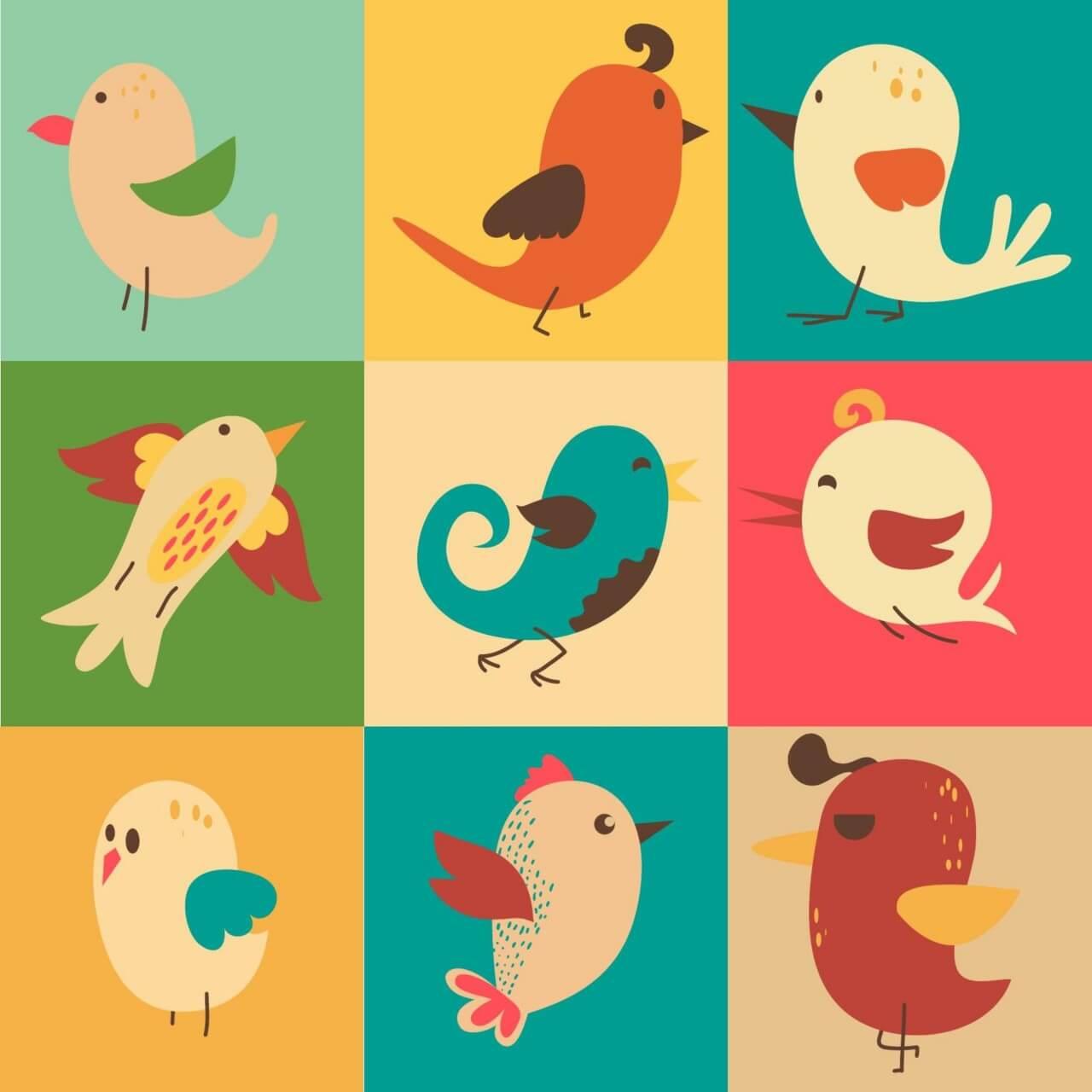 "Free vector ""Cute vector set of birds"""