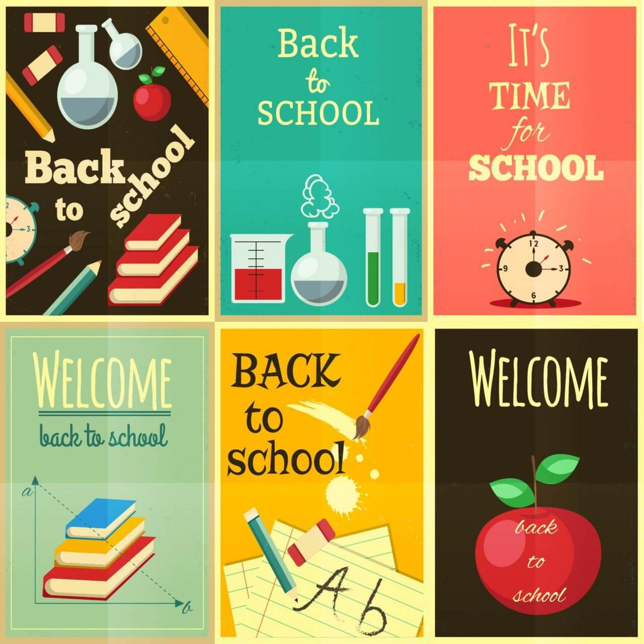 "Free vector ""Back to school set of illustrations"""