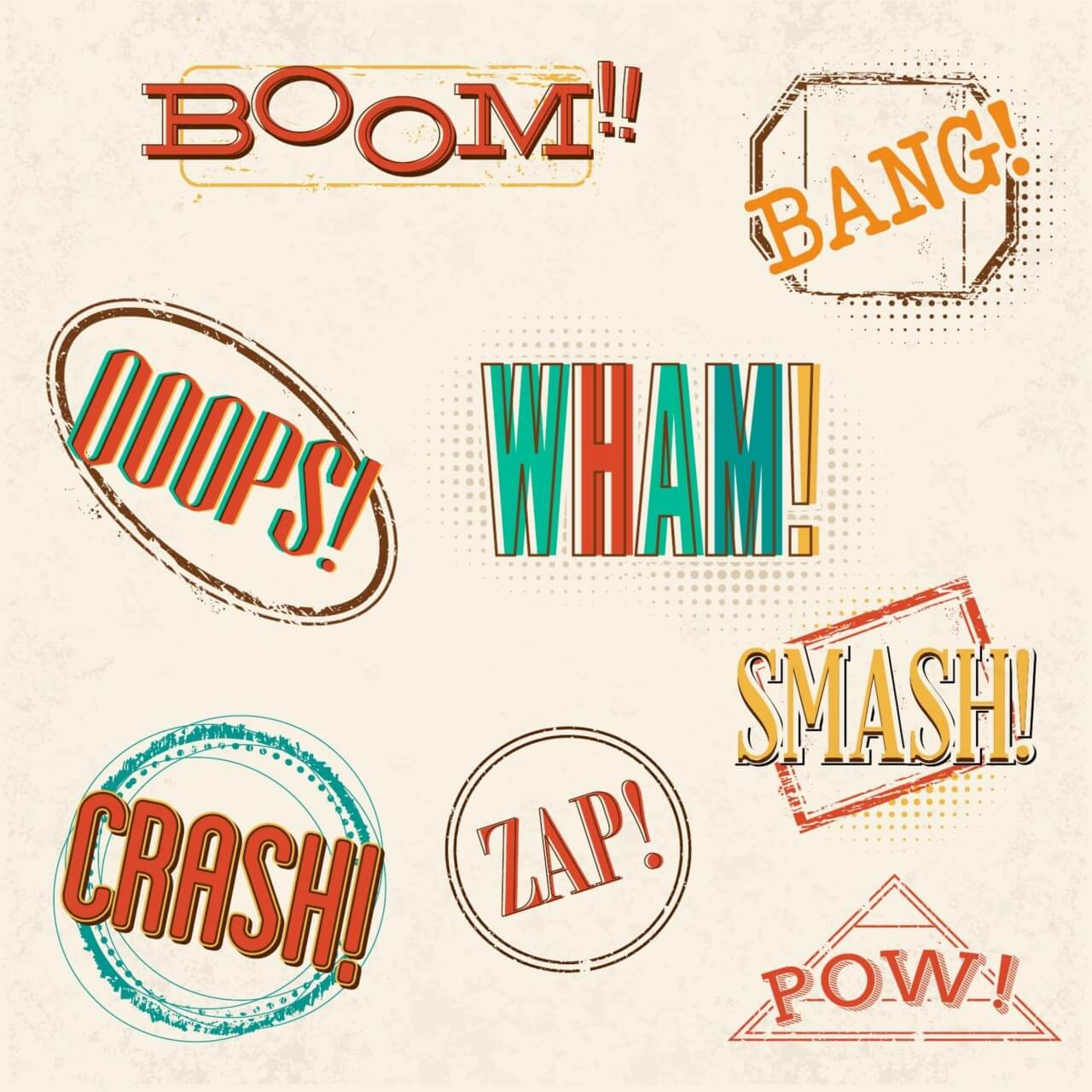 "Free vector ""Retro comic book exclamations"""