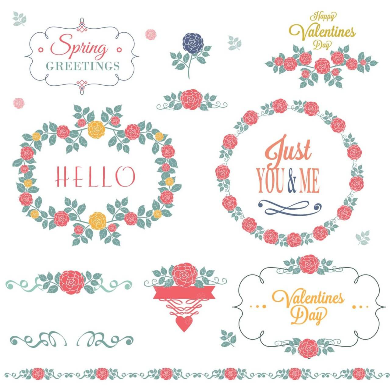 "Free vector ""Flower set of decorations"""