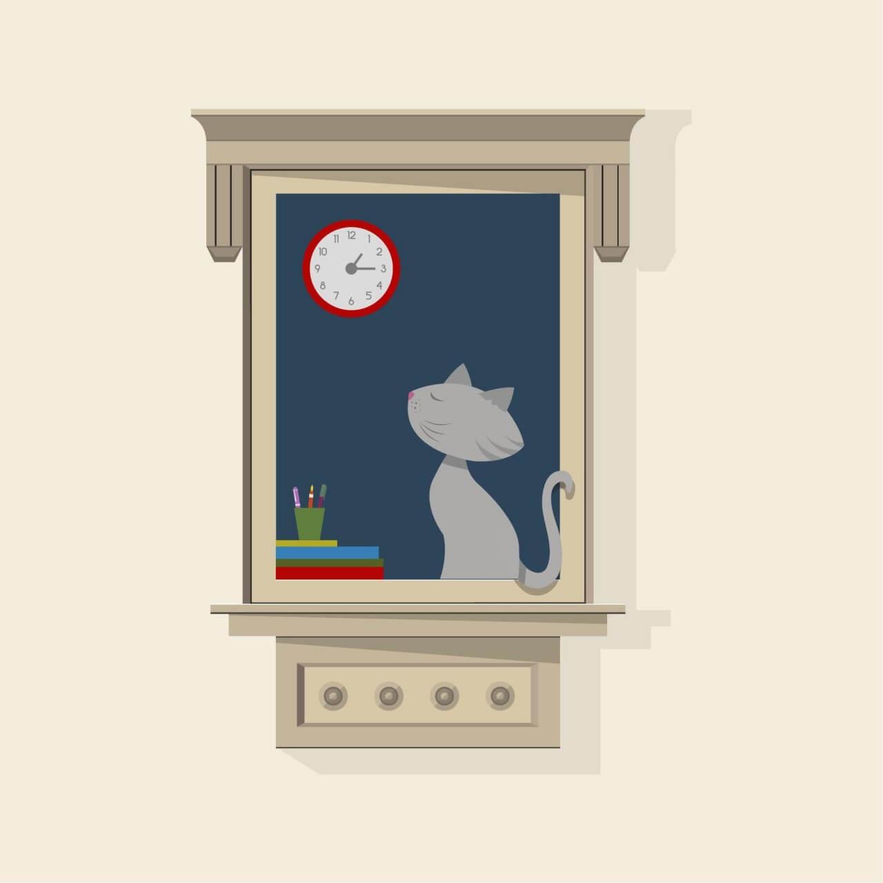 "Free vector ""Cat At Window"""