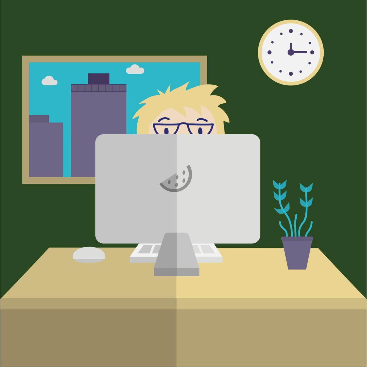 "Free vector ""Man on Computer"""