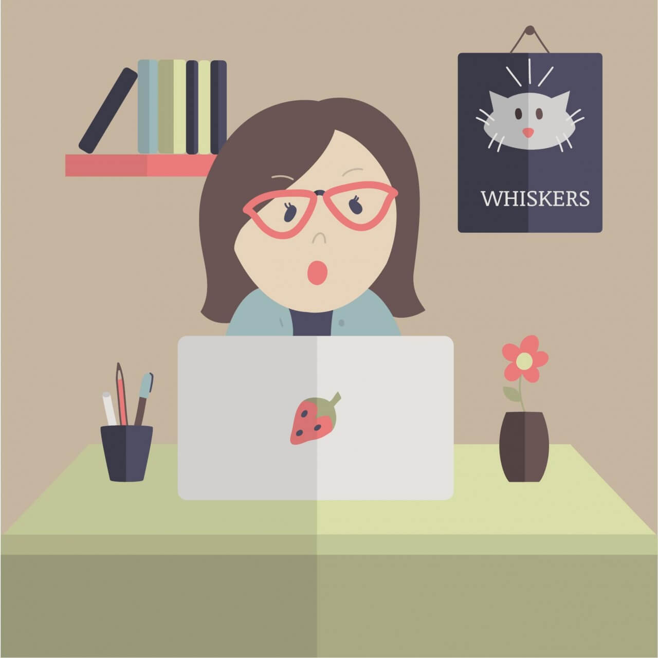 "Free vector ""Shocked Woman on Laptop"""