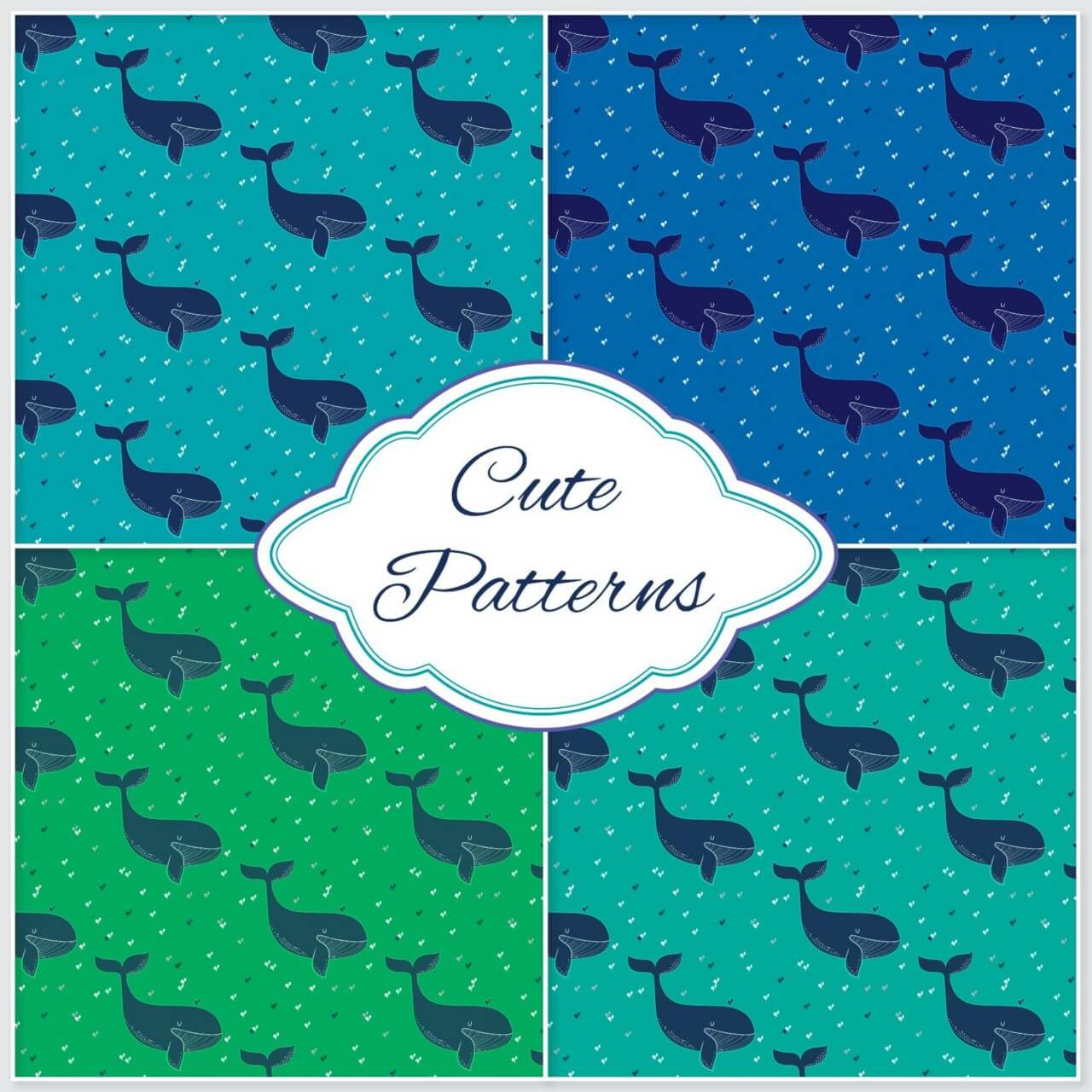 """Free vector """"Whale pattern """""""