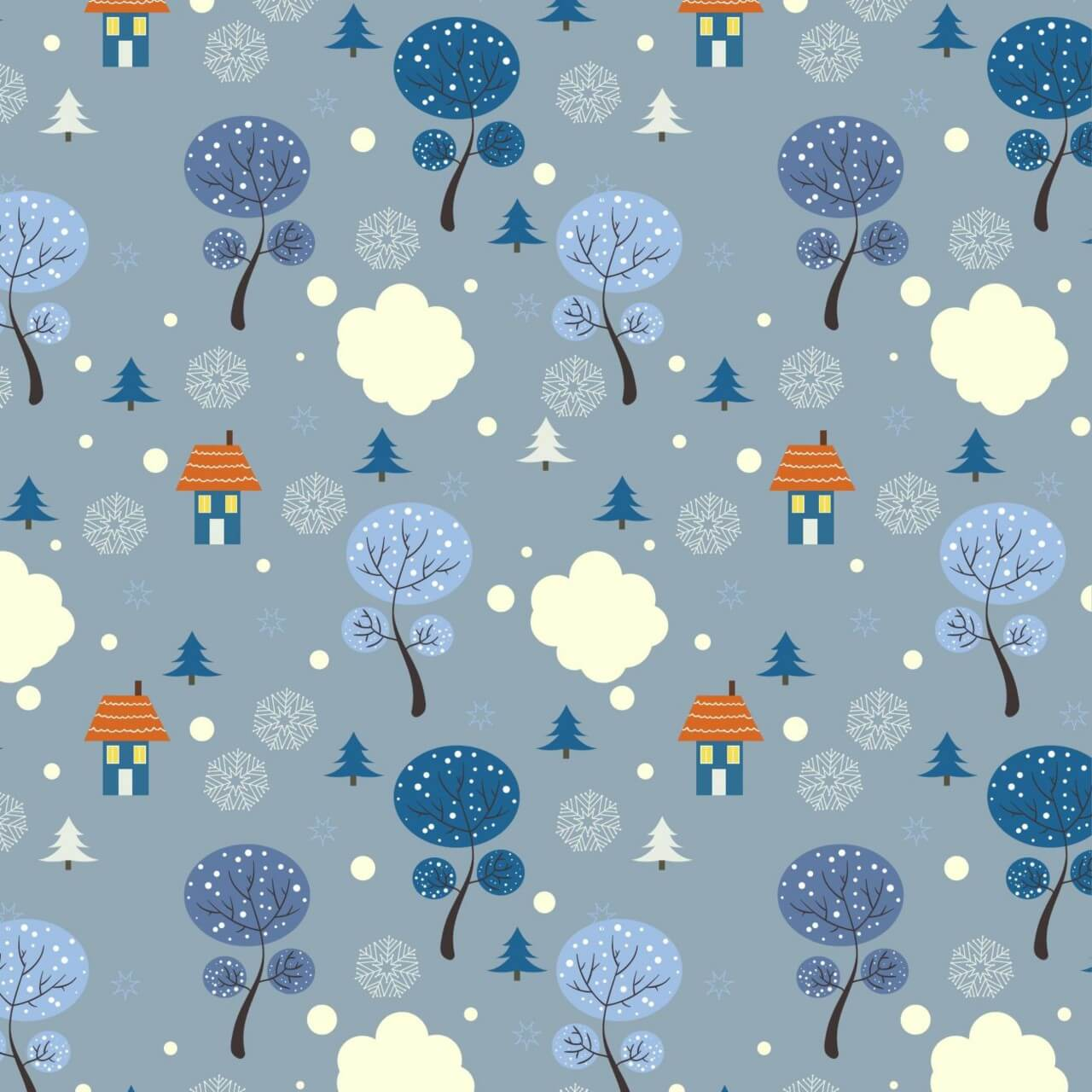 """Free vector """"Christmas pattern with trees and houses"""""""
