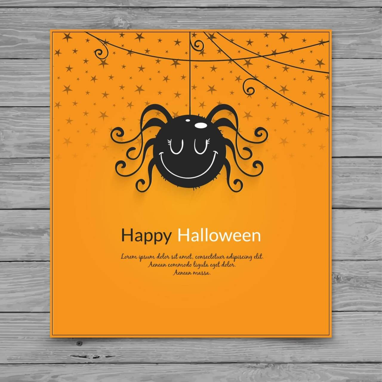 "Free vector ""Halloween spider card"""