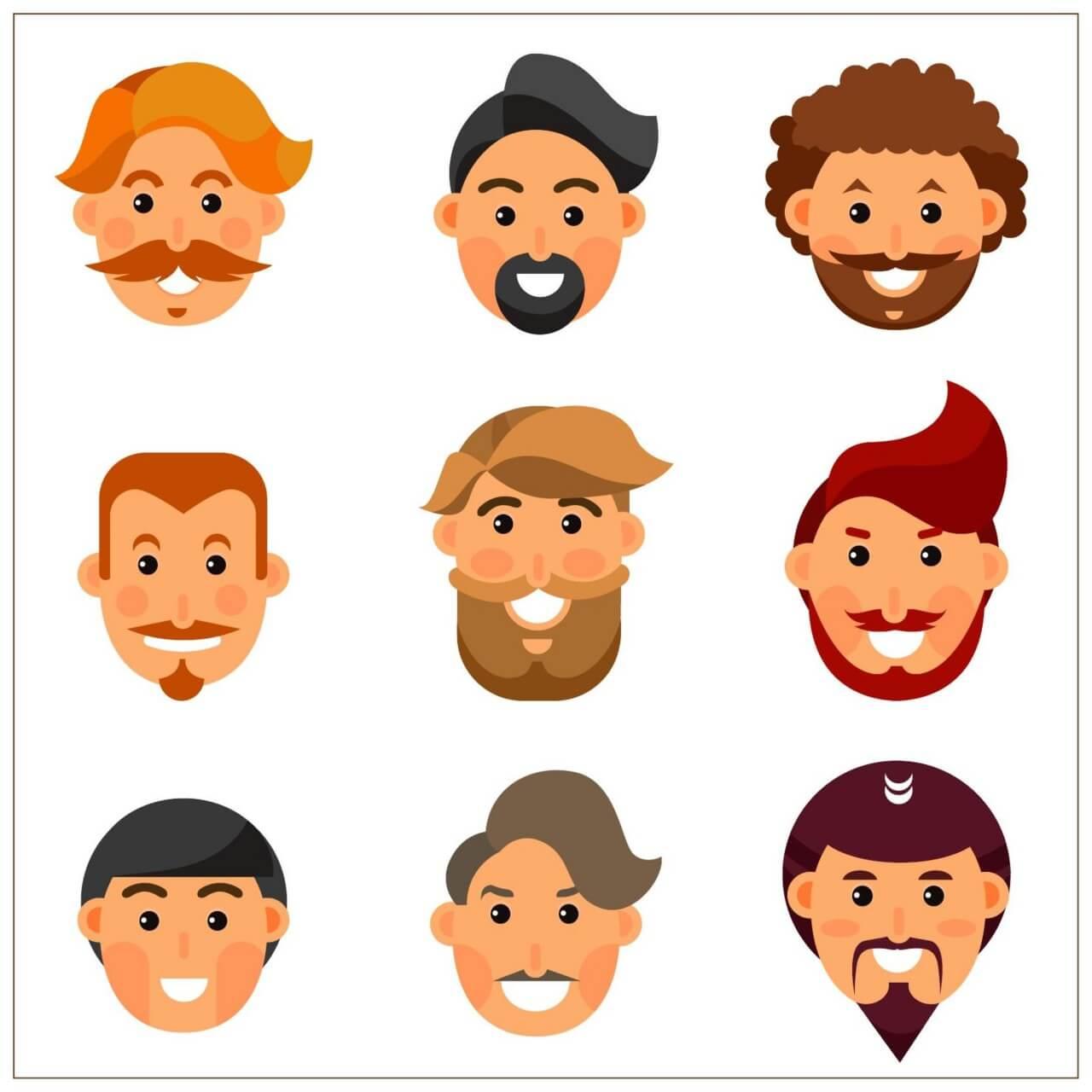 """Free vector """"Bearded man avatars """""""