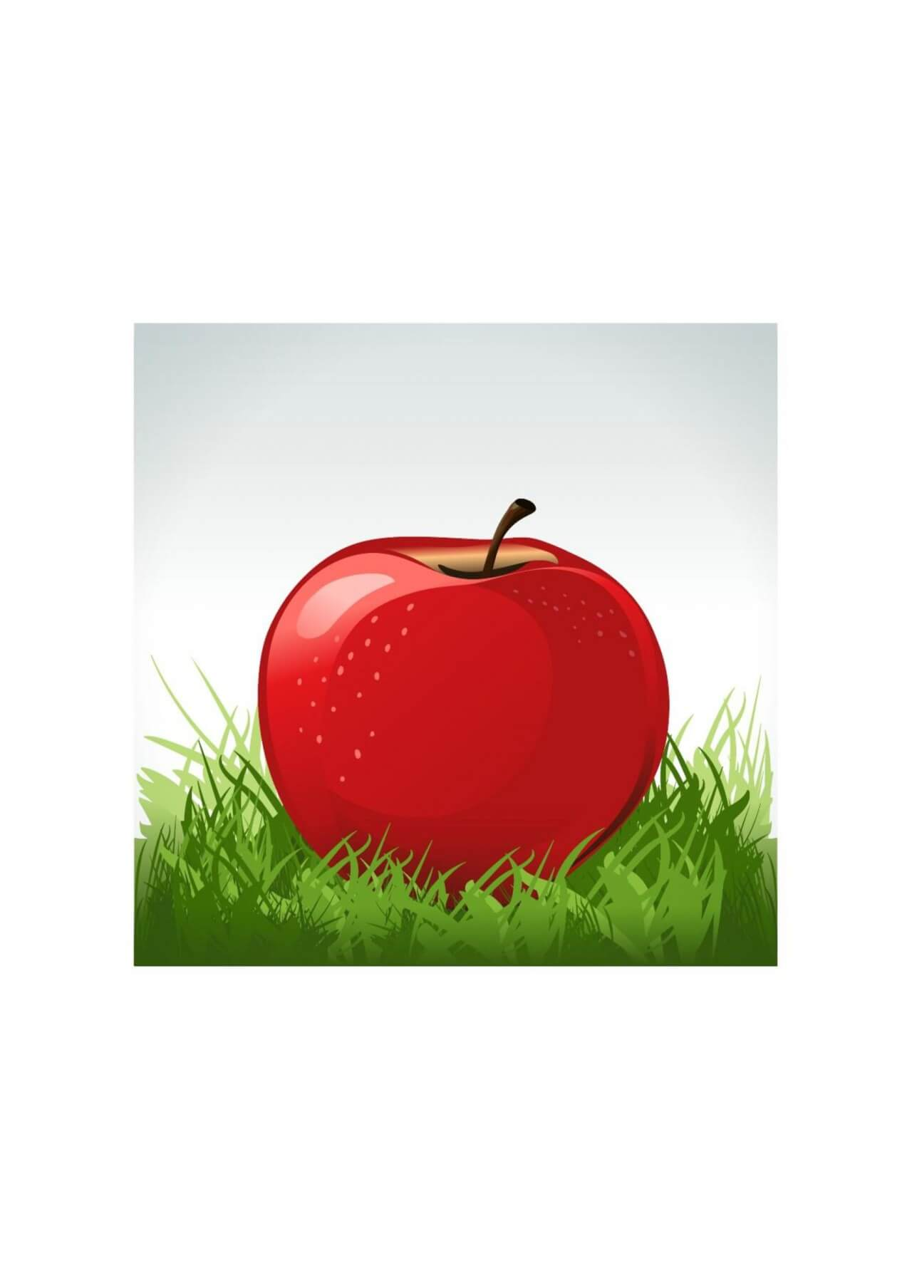 """Free vector """"Red apple in green grass"""""""