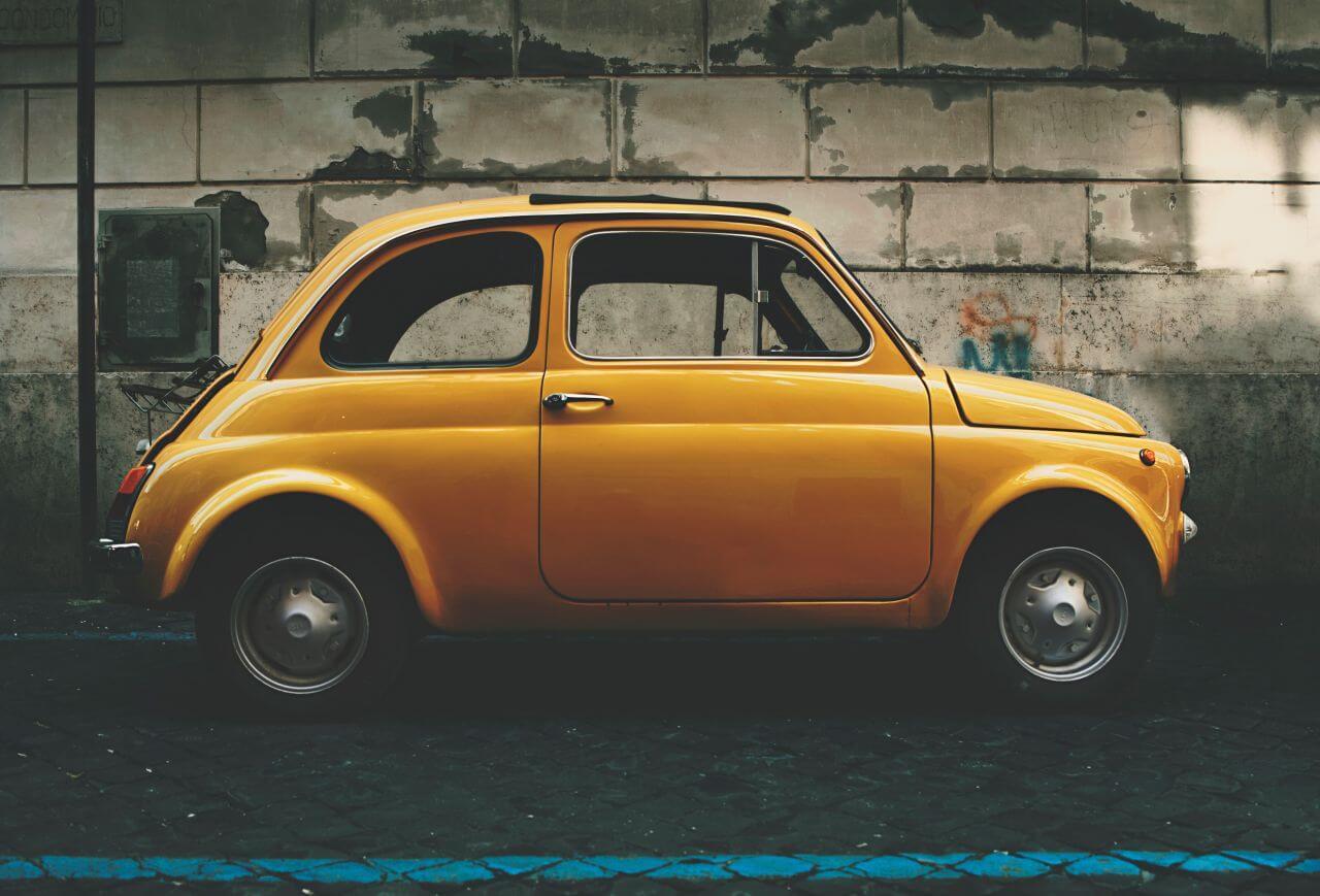 "Free photo ""Classic Fiat 5 Yellow Car"" by ilya yakover"
