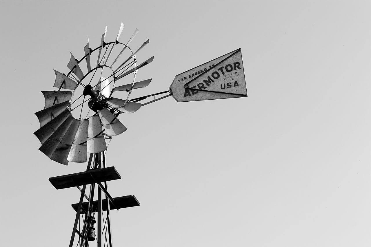 """Free photo """"Black White Windmill Sign Wind"""" by Photocrops"""