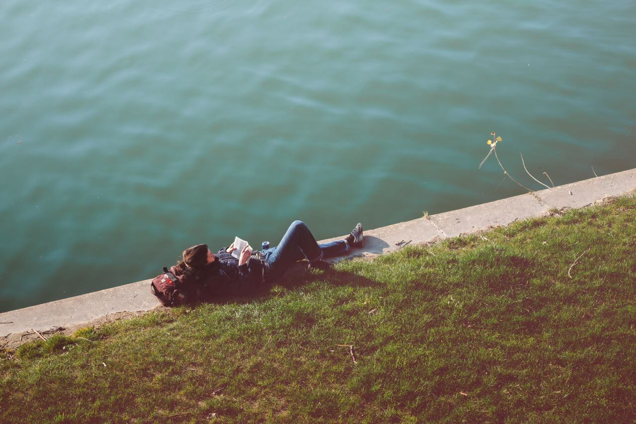 """Free photo """"Relaxed Woman Reading River"""" by mvp"""