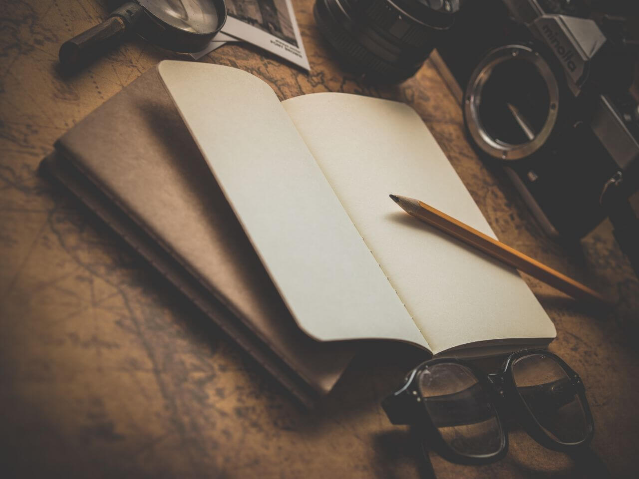 "Free photo ""Vintage Notepad Glasses Camera"" by dariusz sankowski"