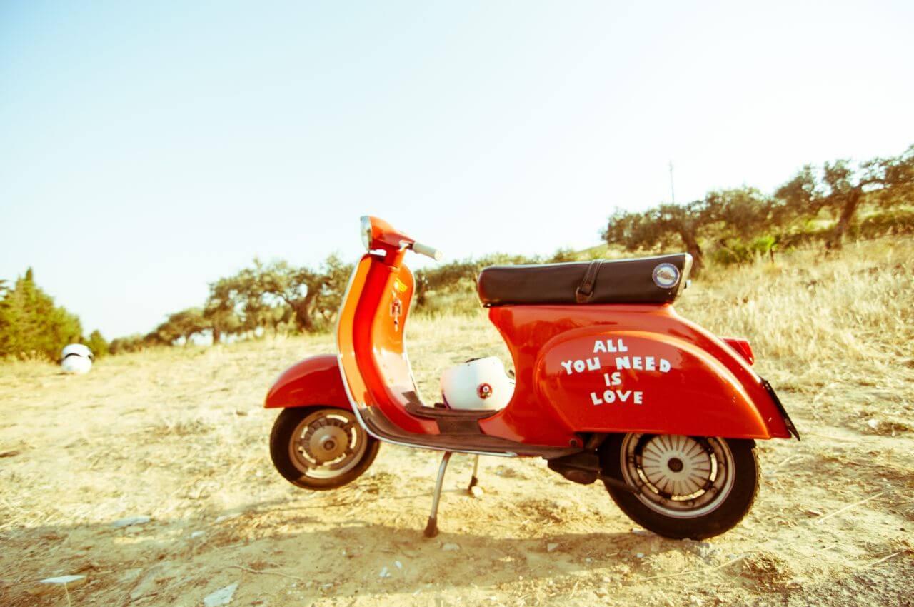 "Free photo ""Vintage Red Vespa Beach"" by davide ragusa (Unsplash)"