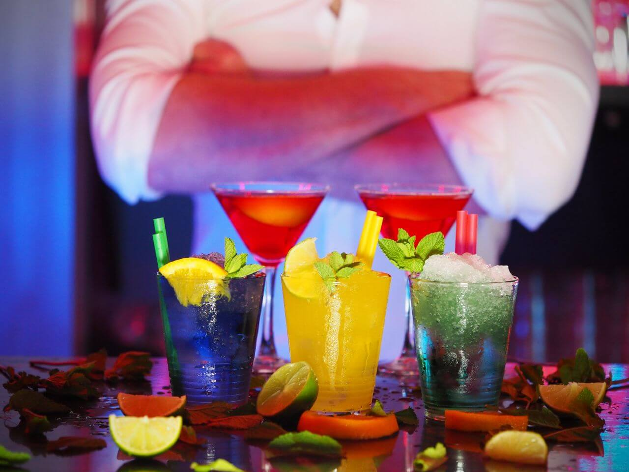 """Free photo """"Barman Cocktails Blue Yellow Red"""" by EnergePic.com"""