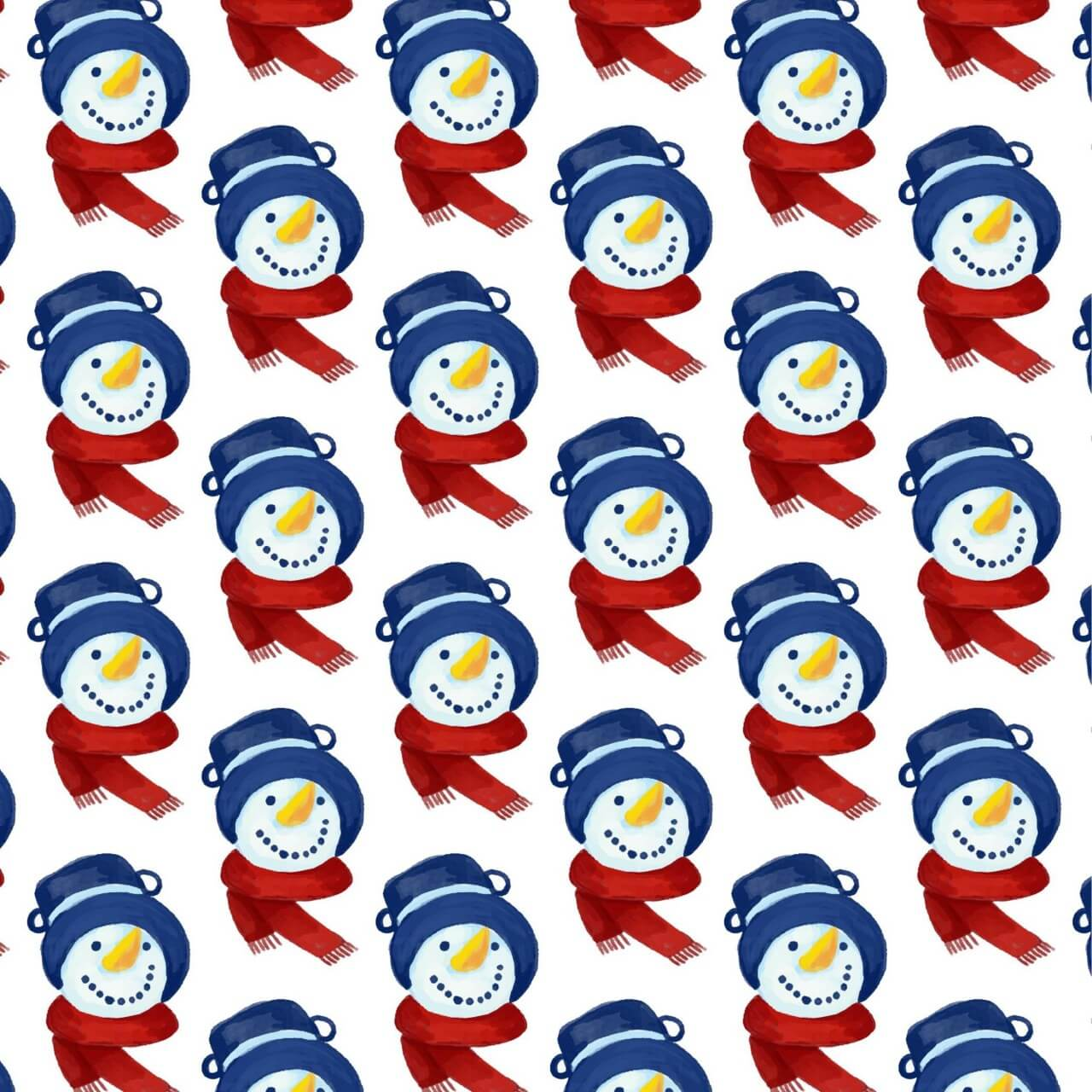 """Free vector """"Christmas pattern with snowman head"""""""