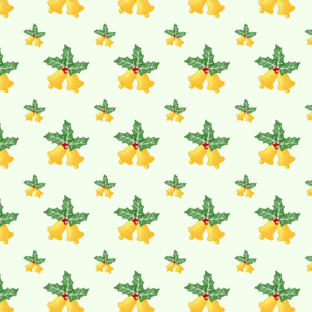 "Free vector ""Christmas pattern with leaves and bells"""