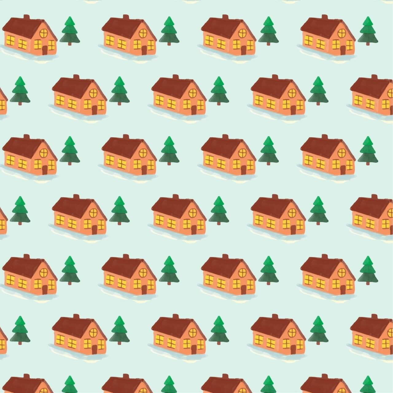 "Free vector ""Christmas pattern with house"""