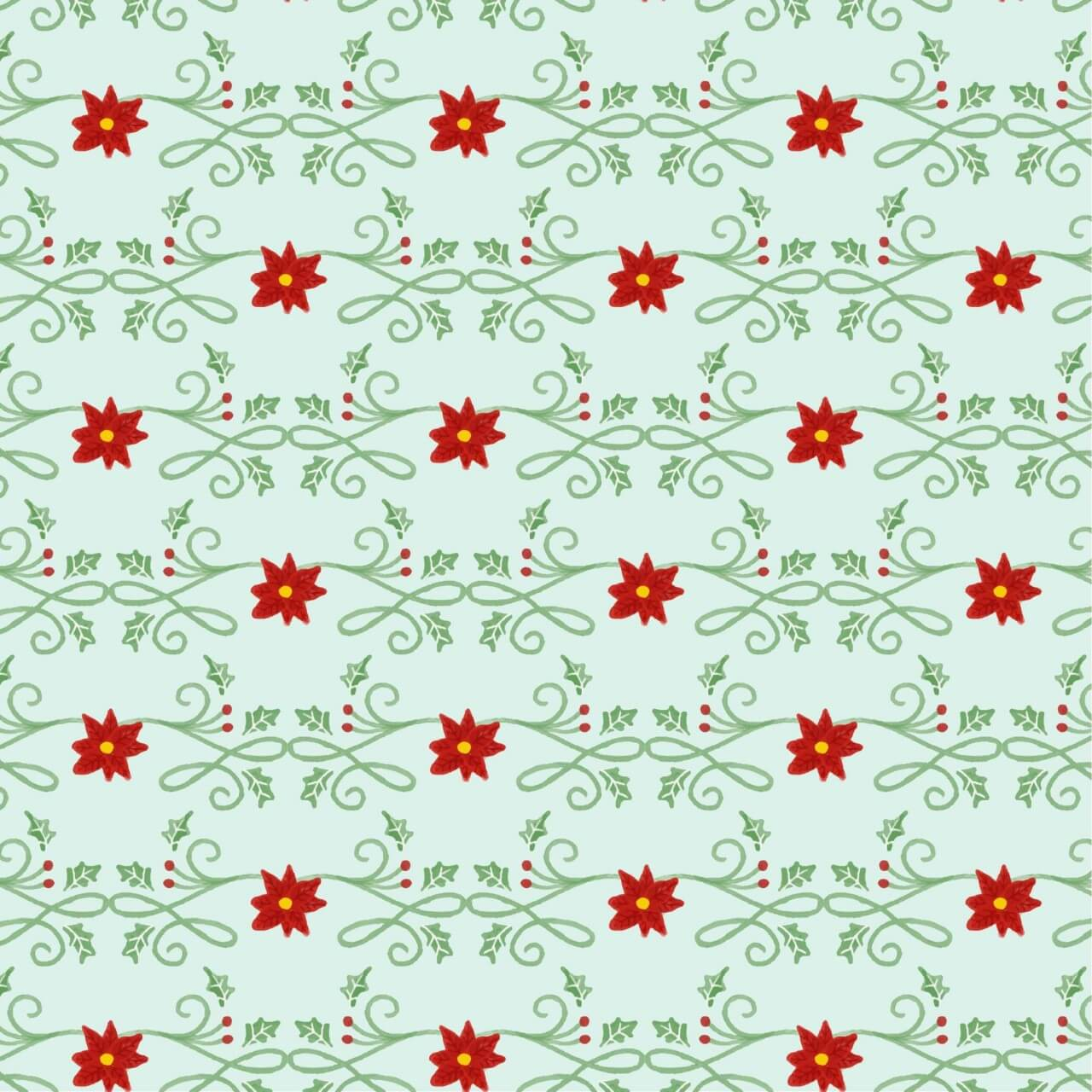 """Free vector """"Christmas pattern with floral decoration"""""""