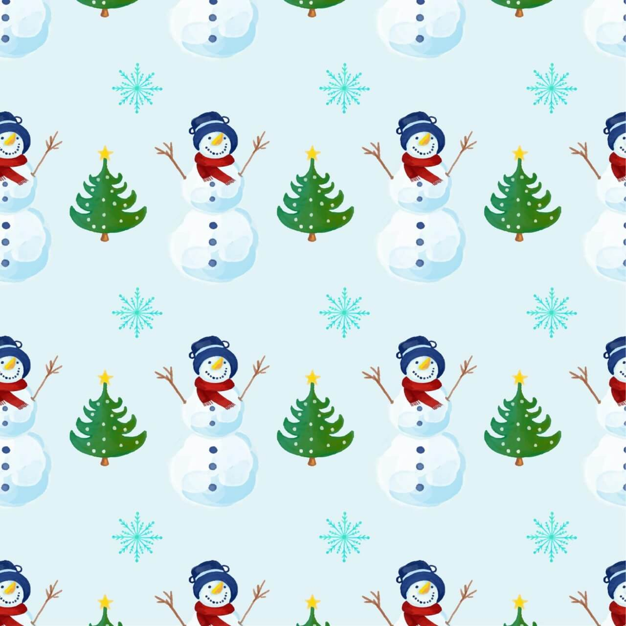 """Free vector """"Christmas pattern with snowman"""""""