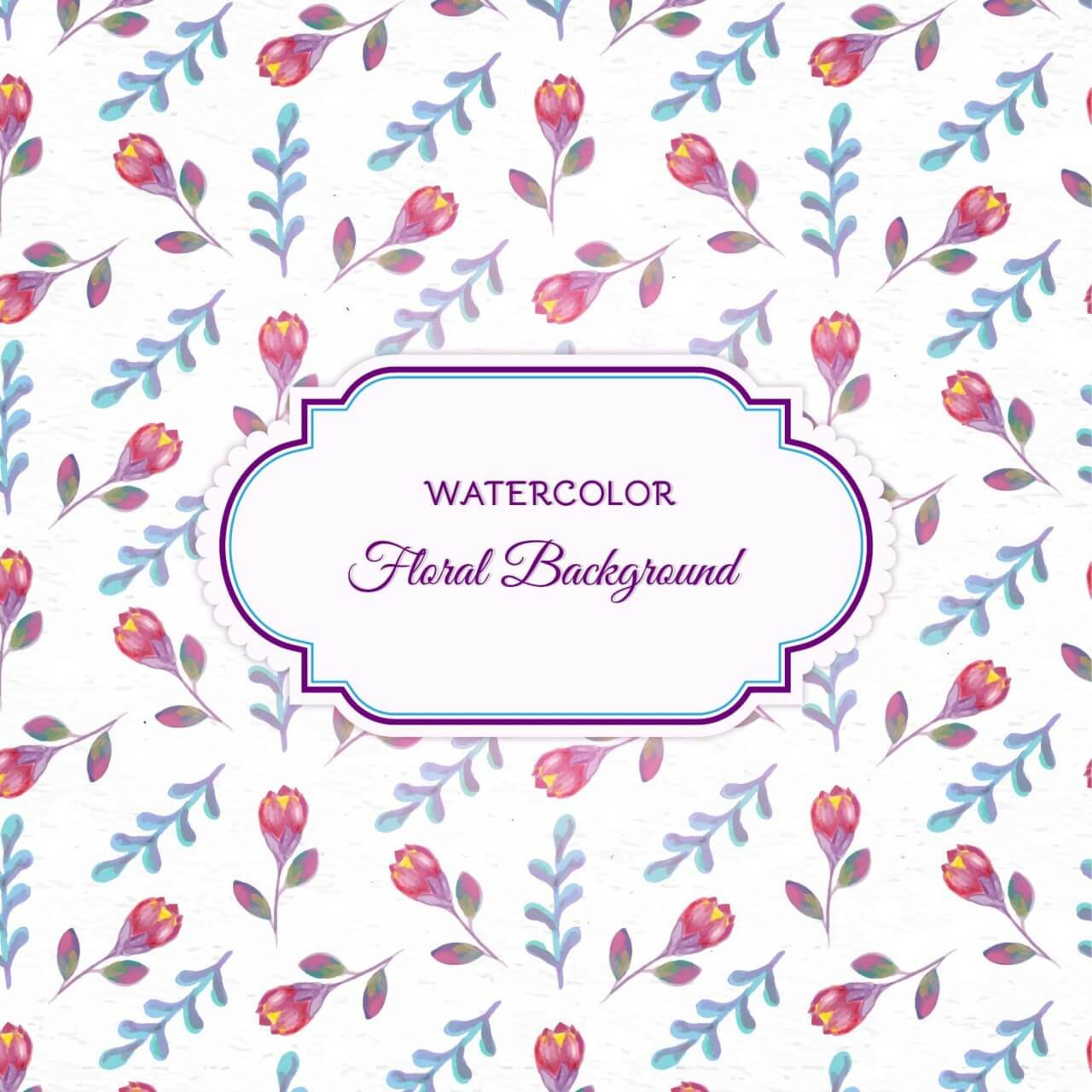 "Free vector ""Watercolor floral background with frame"""