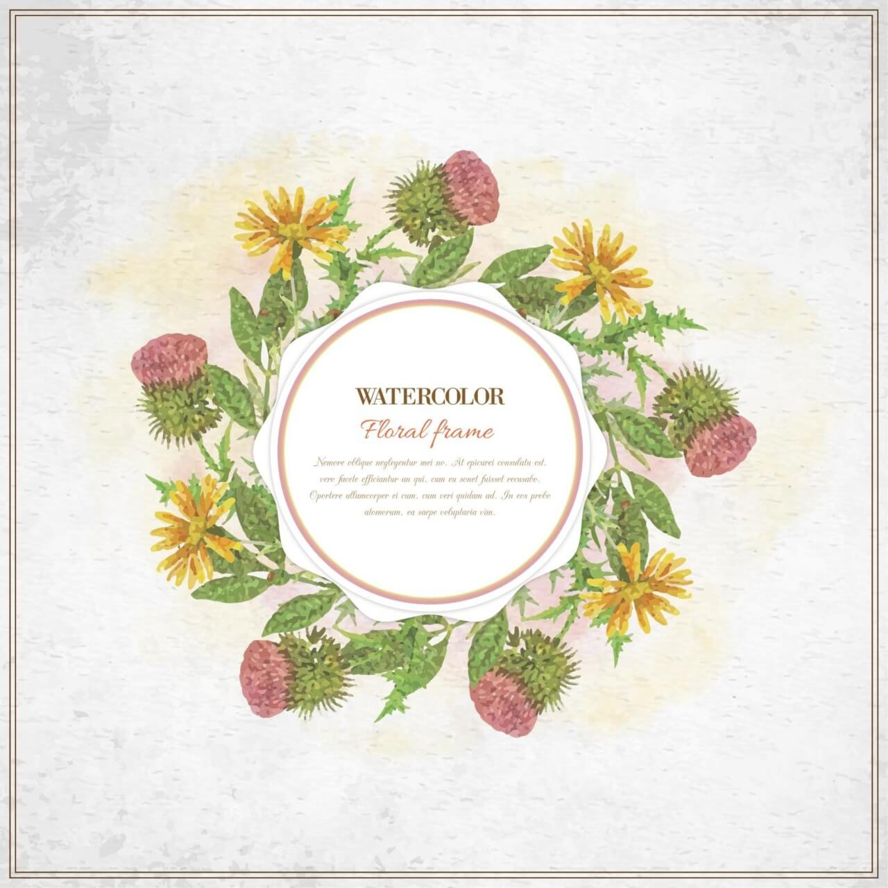 "Free vector ""Vintage watercolor floral frame with typography"""