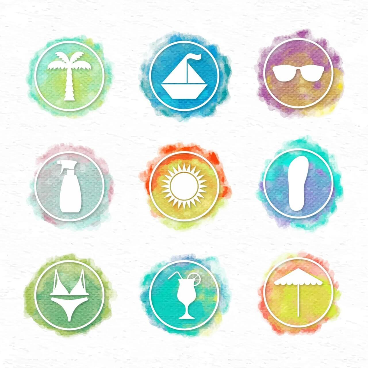 """Free vector """"Watercolor icons"""""""