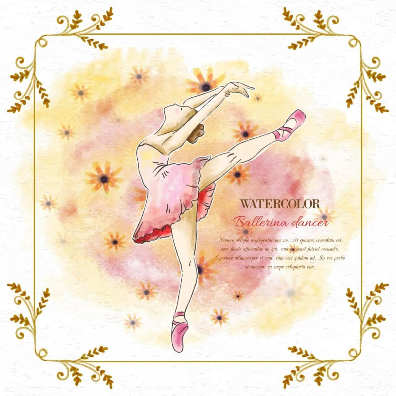 "Free vector ""Watercolor ballerina dancer"""
