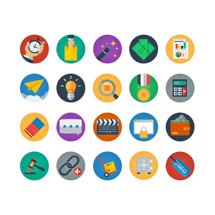 "Free vector ""Colorful Flat Icons"""