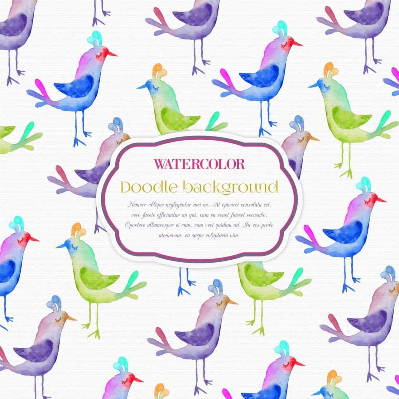 "Free vector ""Cute bird pattern"""