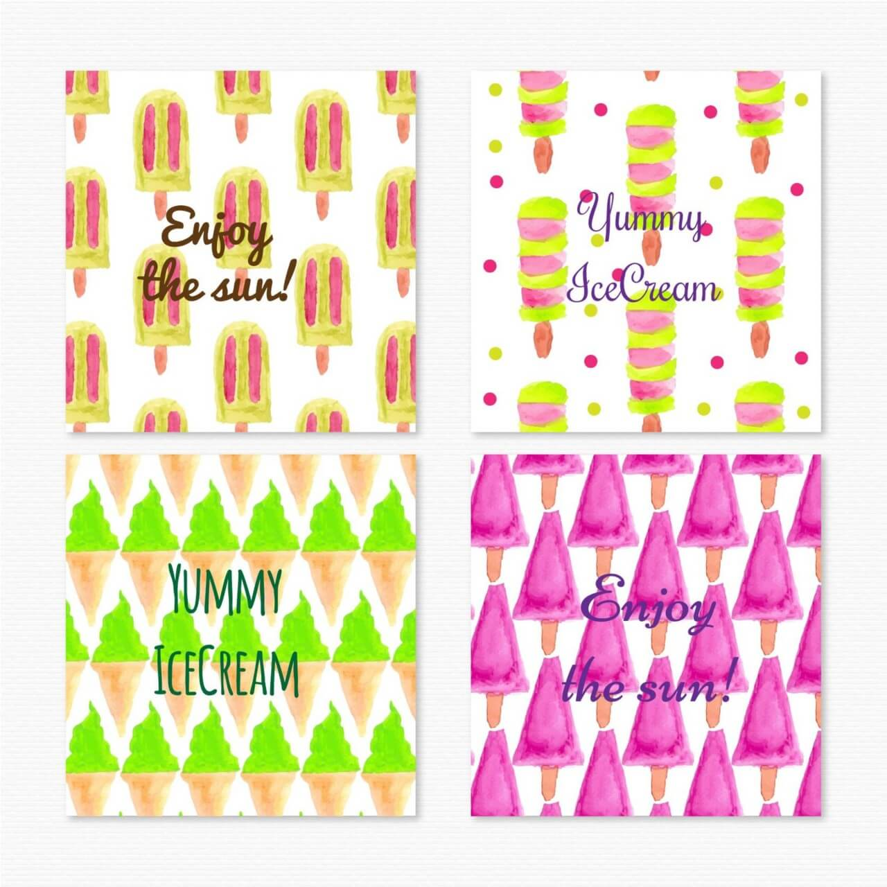 "Free vector ""Watercolor ice cream cards"""