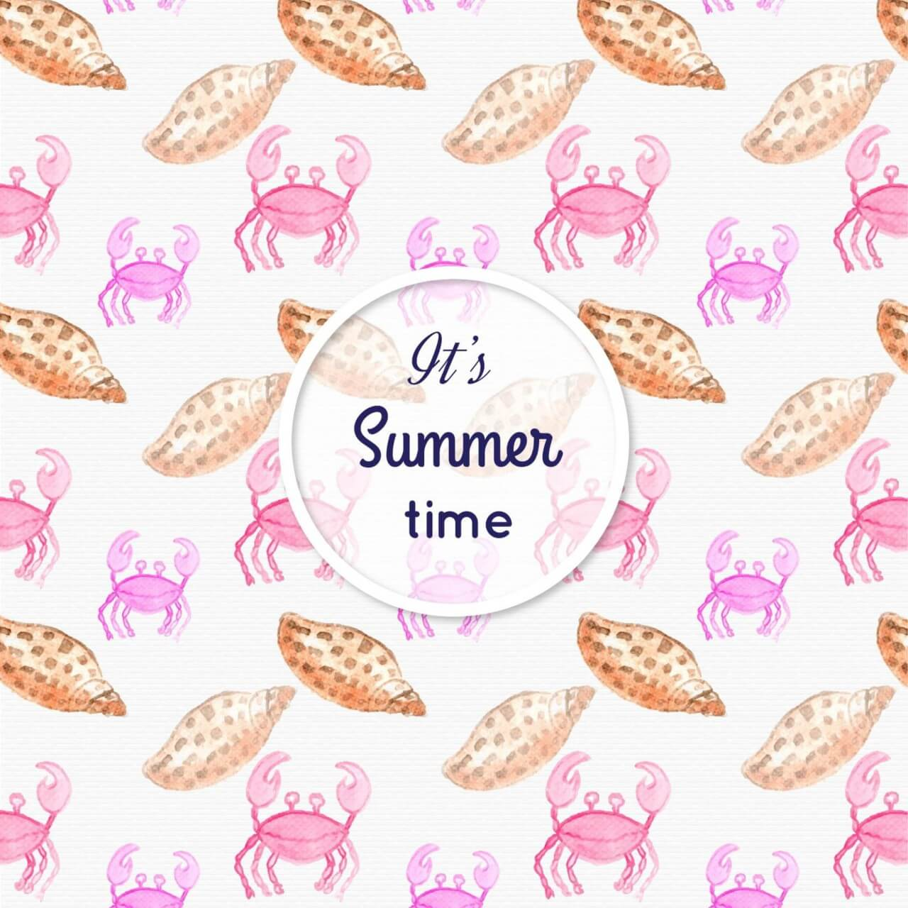 "Free vector ""Watercolor summer pattern with sea shells"""