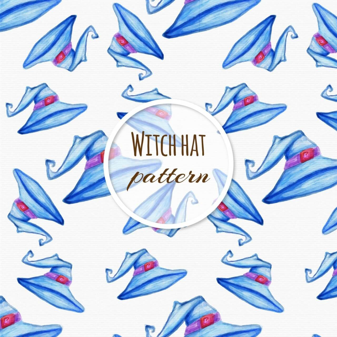 """Free vector """"Watercolor pattern with hat """""""