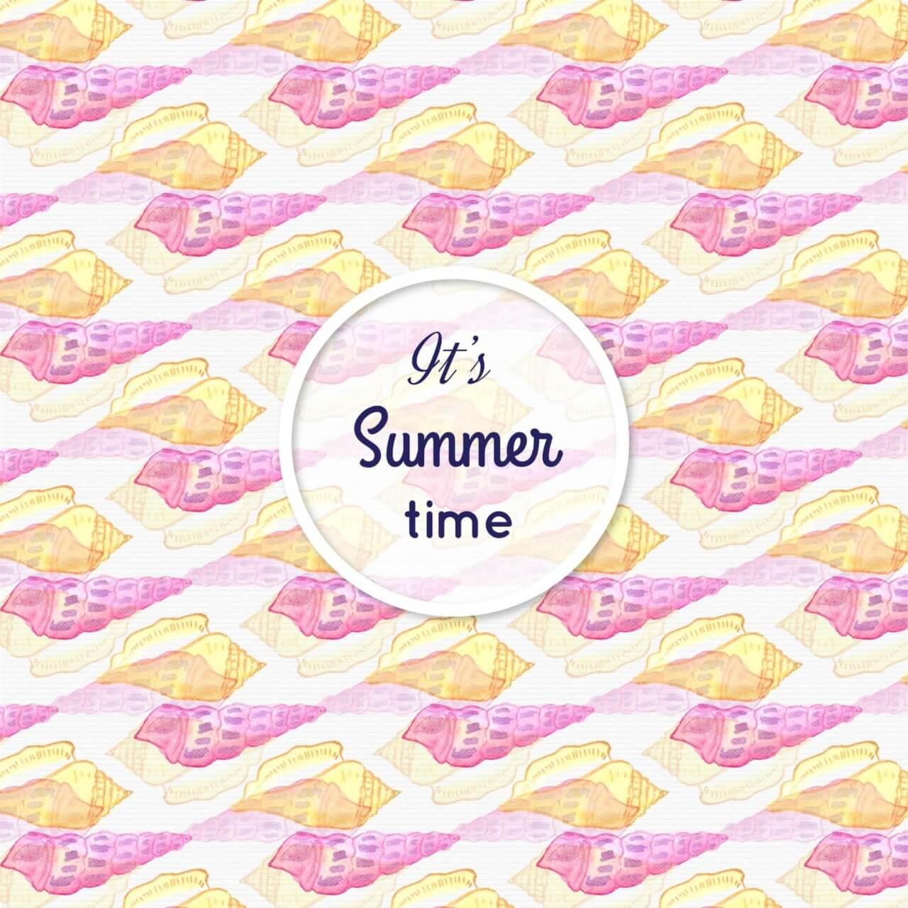 """Free vector """"Watercolor summer pattern with sea shells"""""""