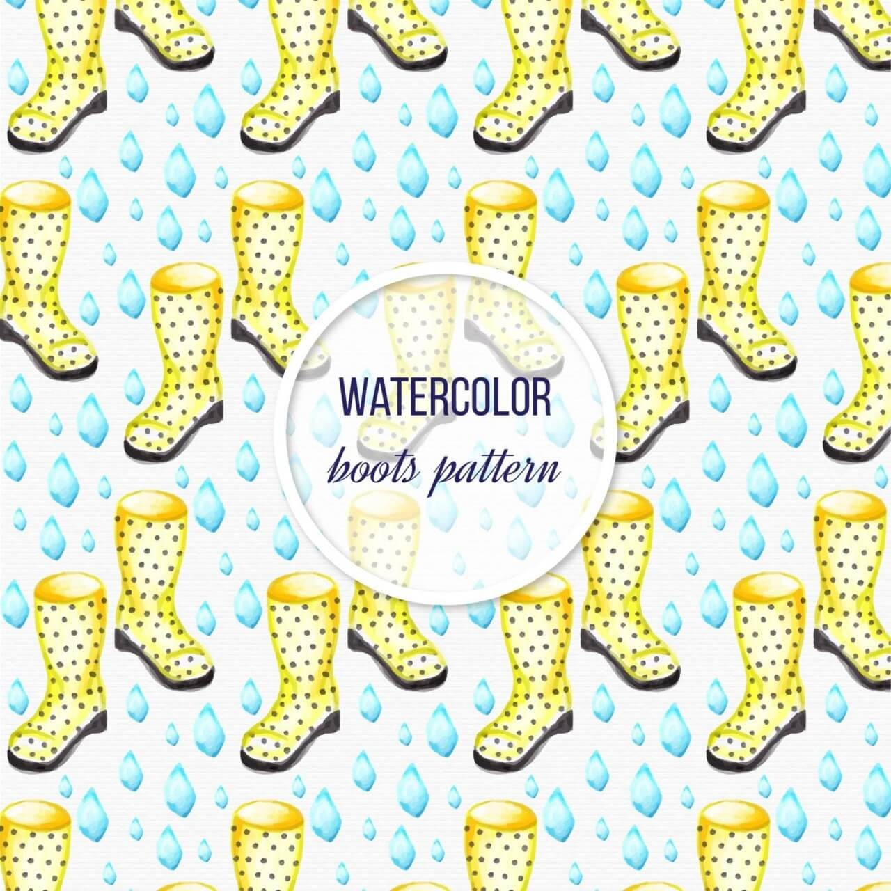 "Free vector ""Watercolor garden background with boots"""