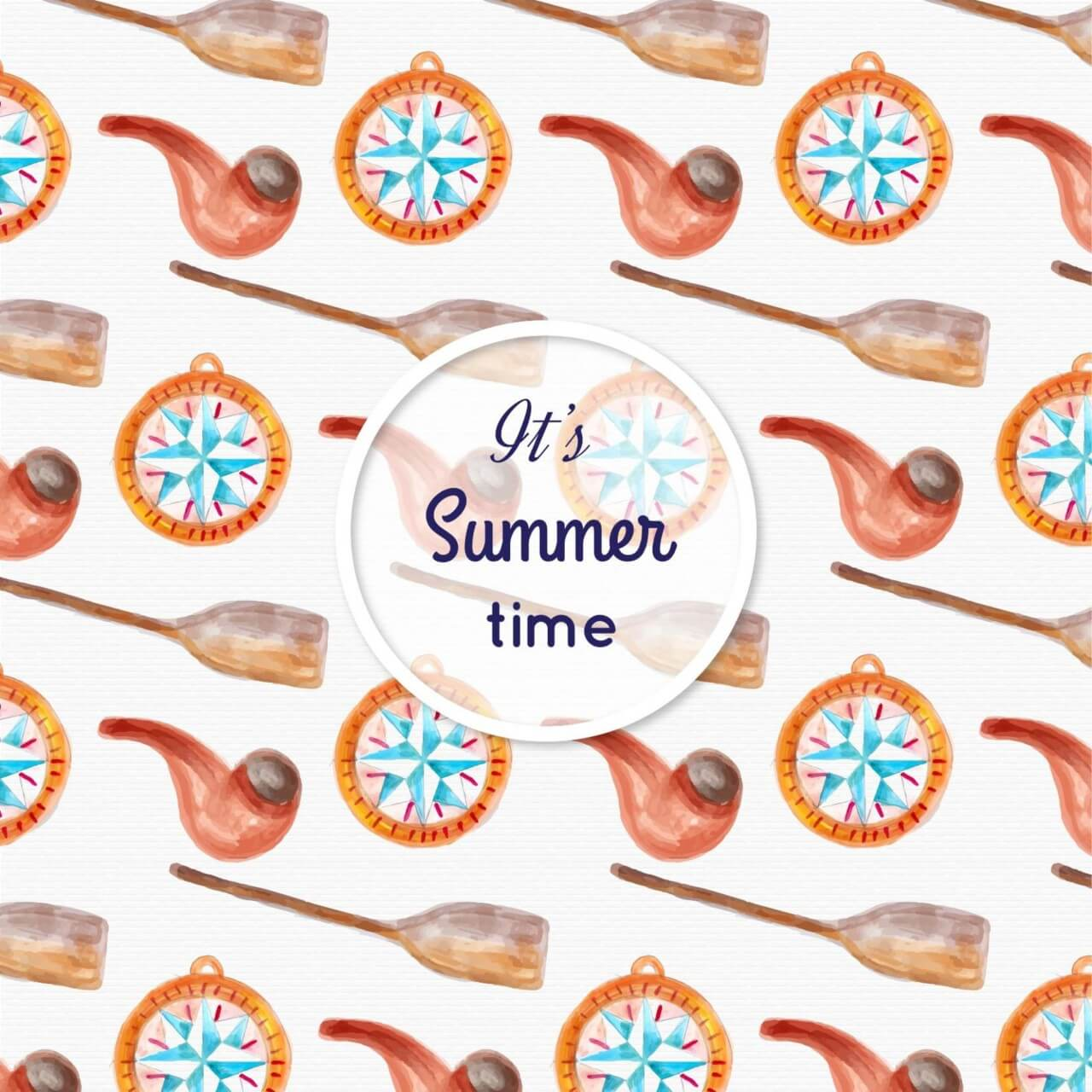 "Free vector ""Watercolor summer pattern"""