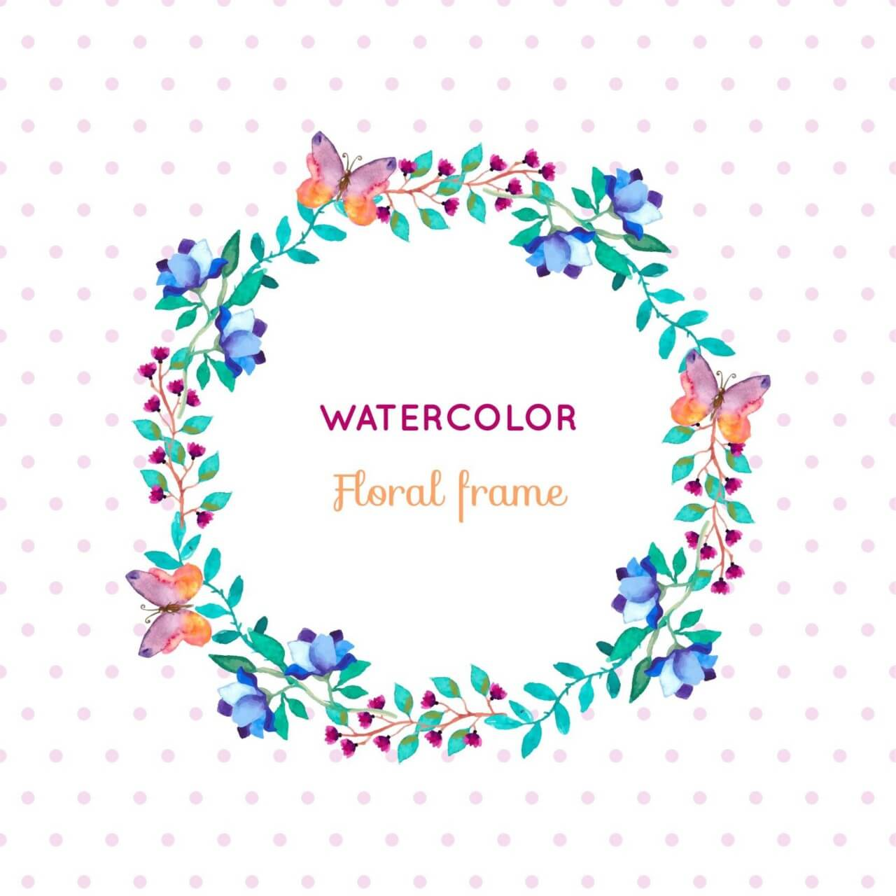 "Free vector ""Watercolor floral frame with butterflies"""