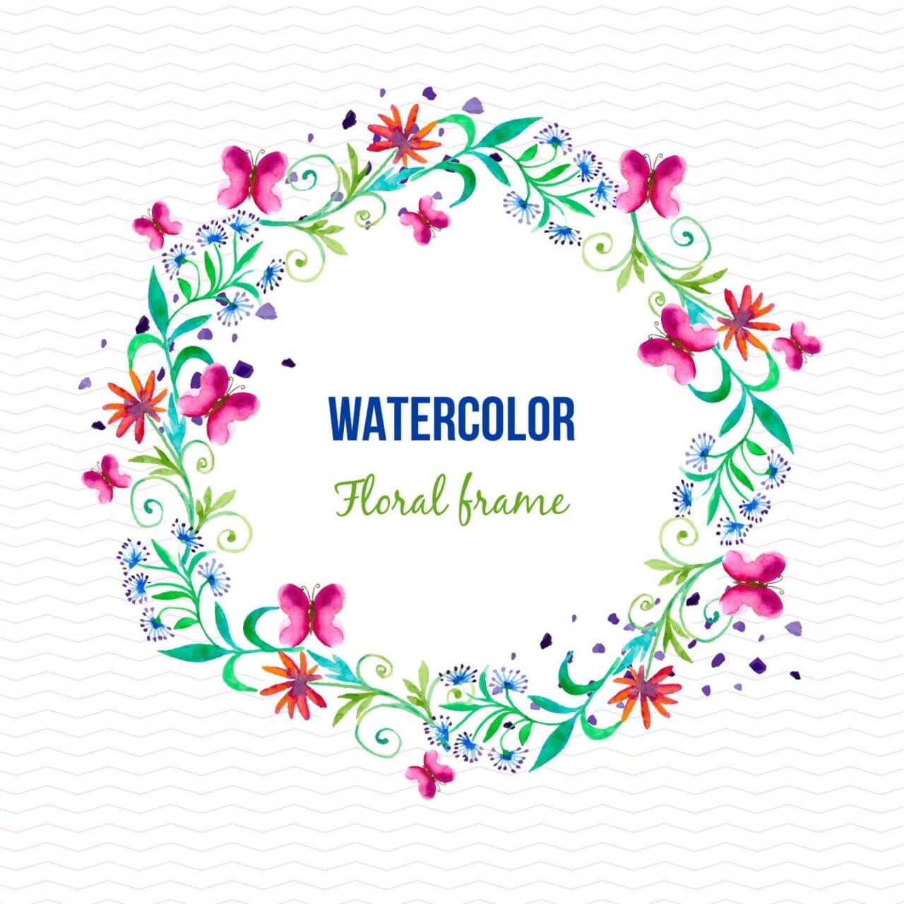 """Free vector """"Watercolor floral frame with butterflies"""""""