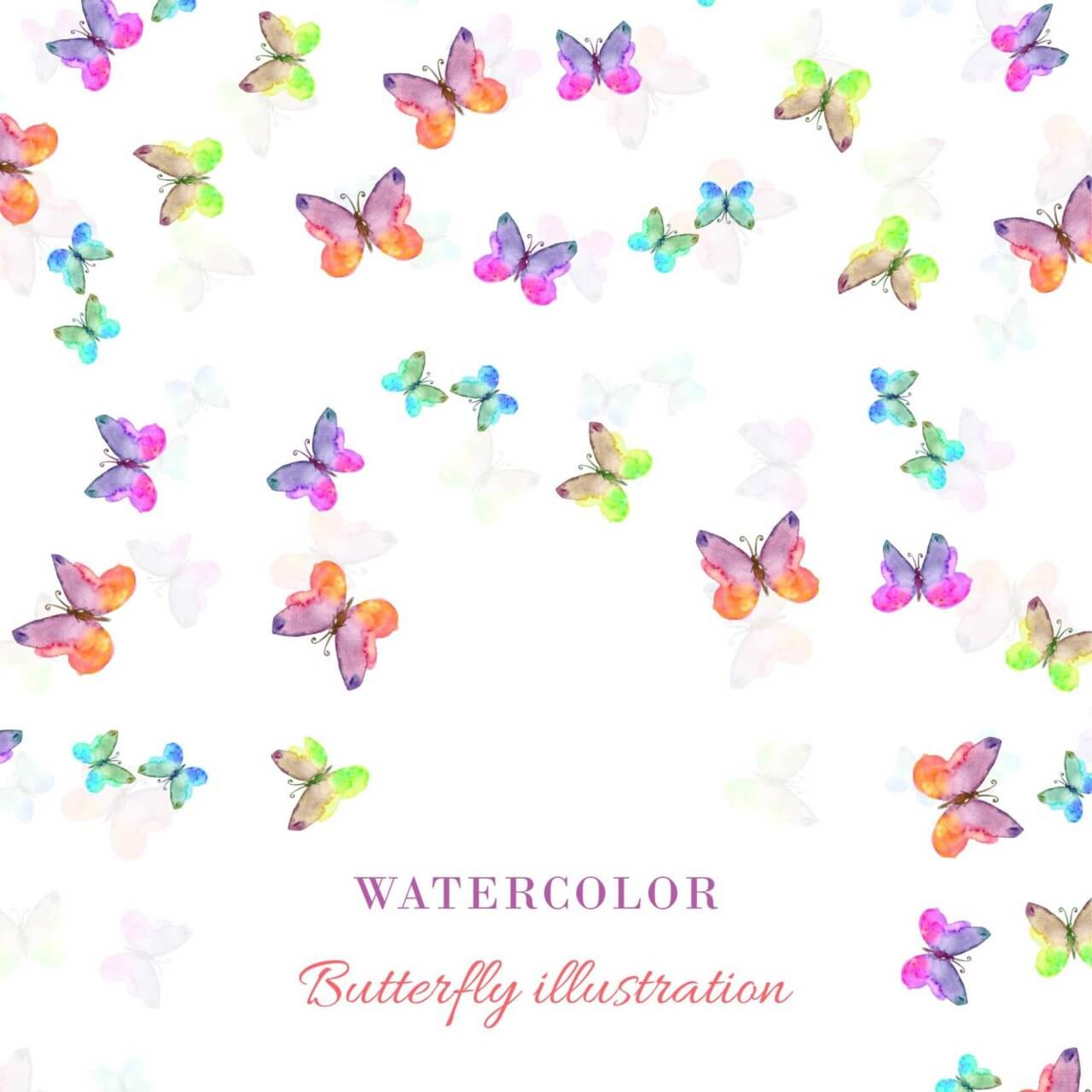 "Free vector ""Watercolor illustration with butterflies"""