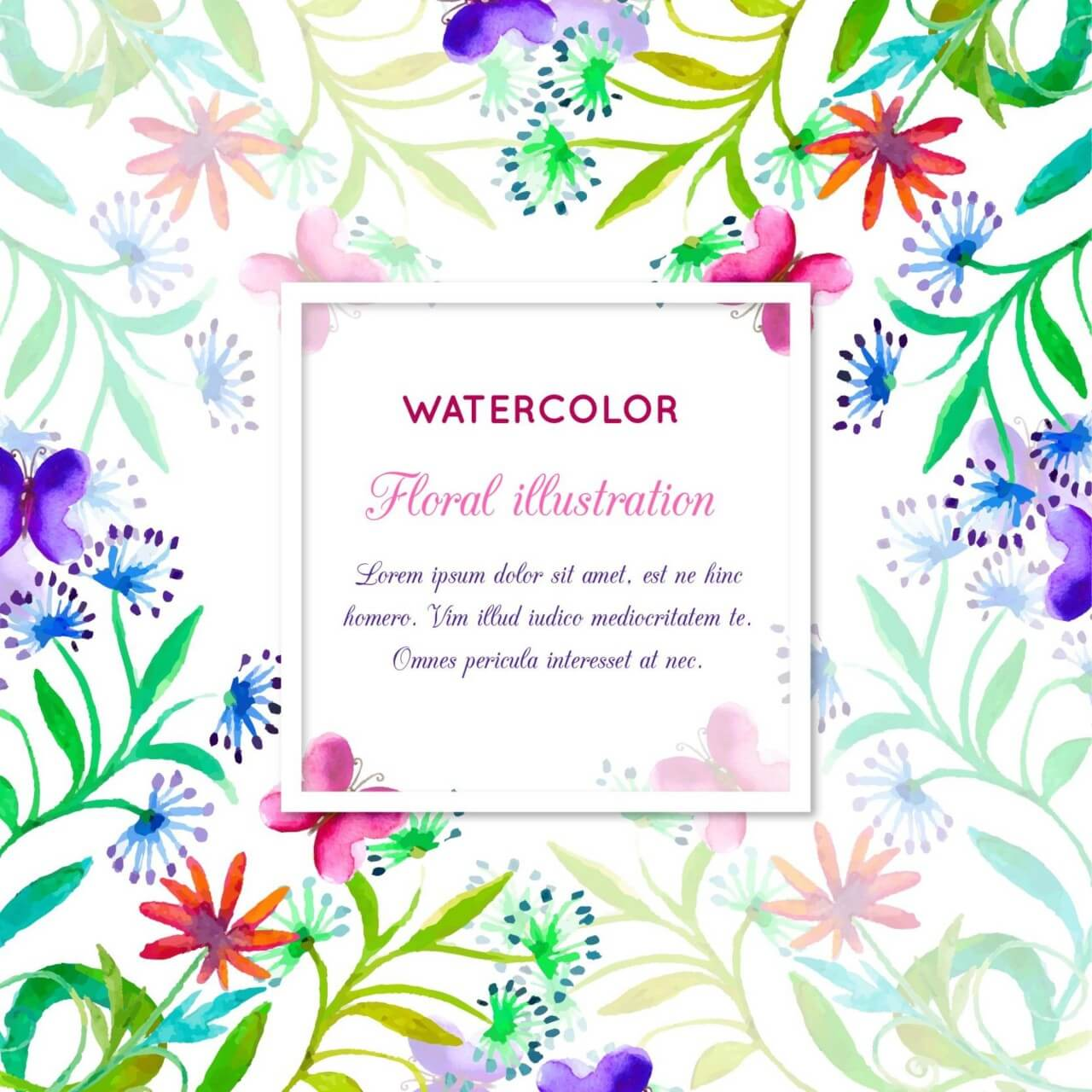 "Free vector ""Watercolor invitation with floral frame"""
