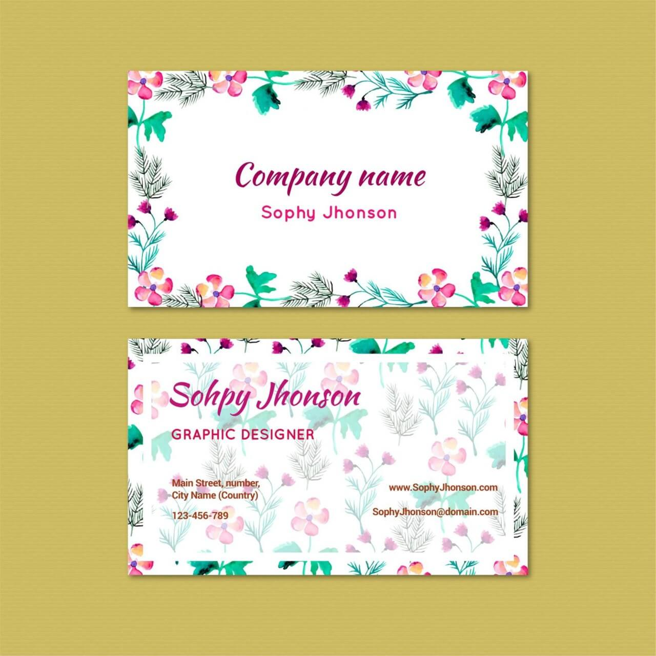 """Free vector """"Watercolor business card with flowers"""""""