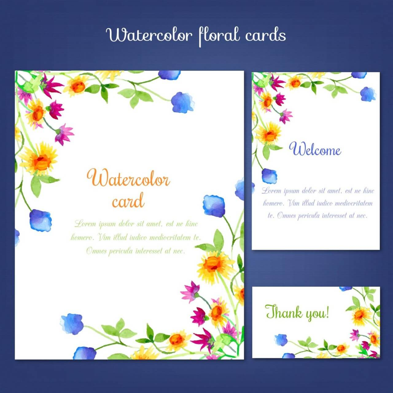 """Free vector """"Watercolor cards with summer flower"""""""