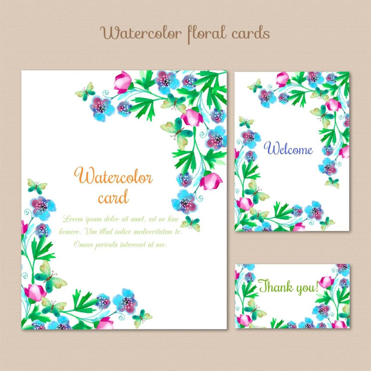 "Free vector ""Watercolor cards with summer flowers"""