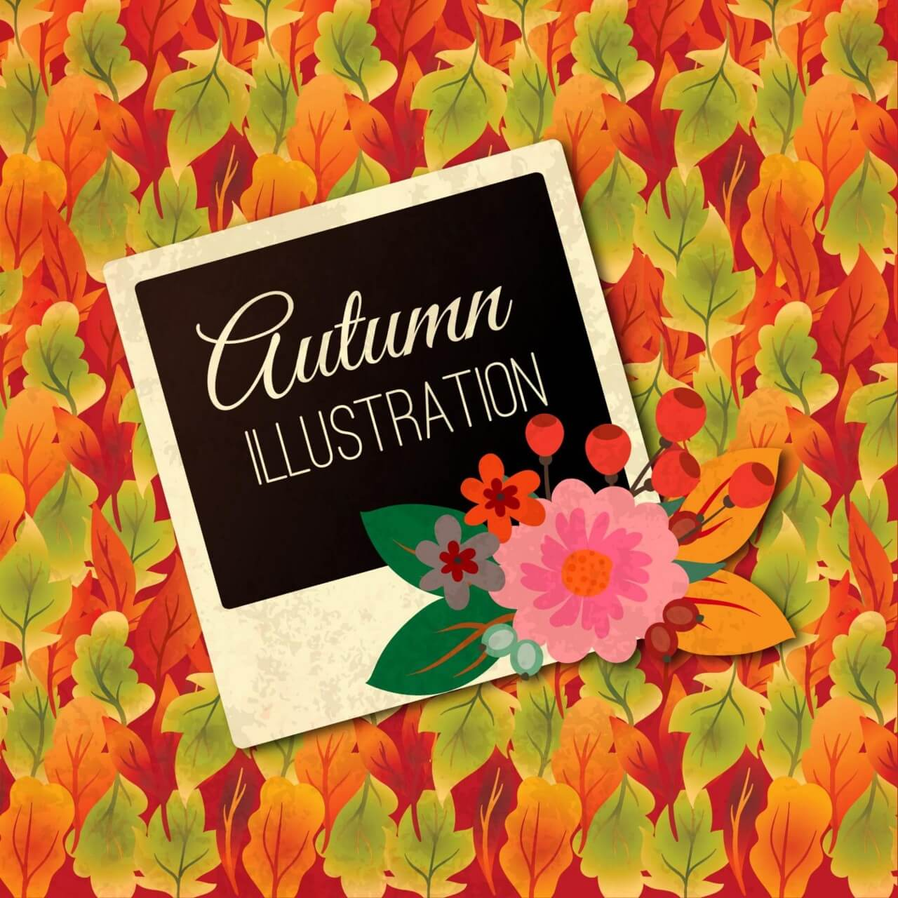"Free vector ""Autumn Illustration With Photo Frame"""