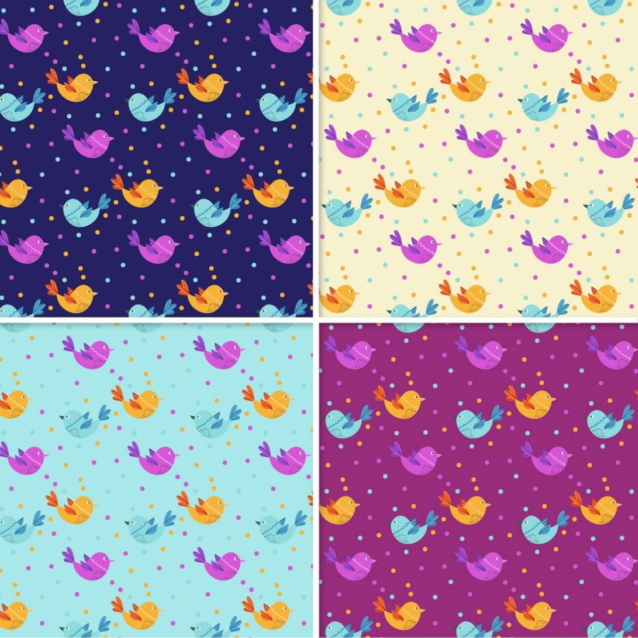"Free vector ""Pattern With Doodle Birds"""