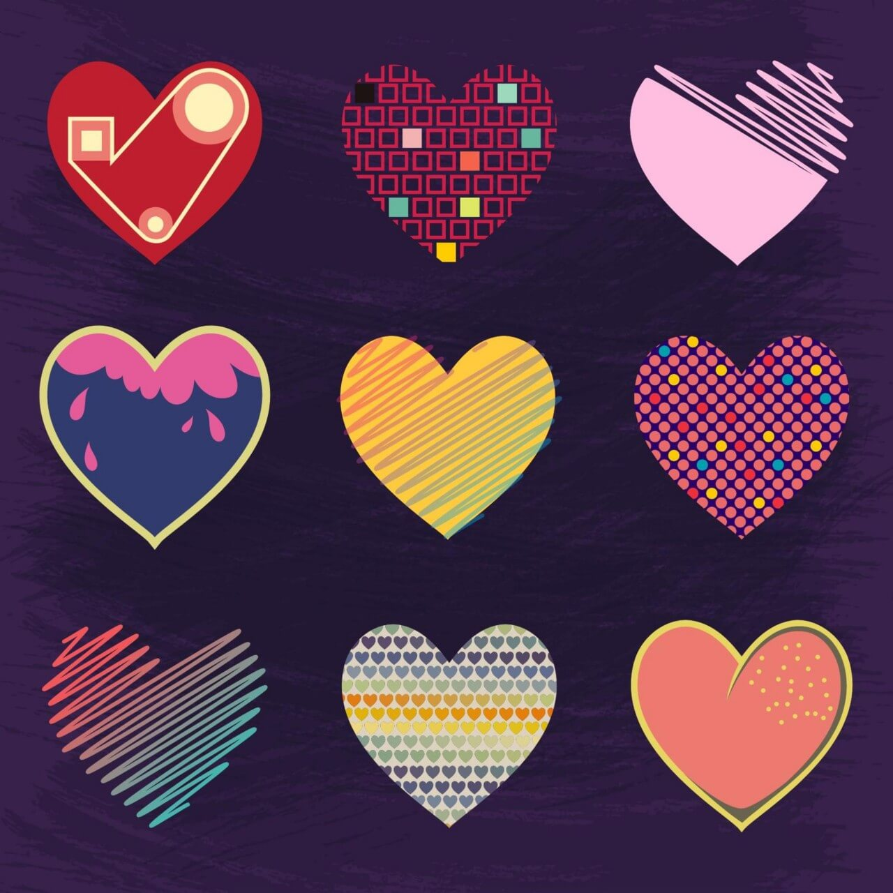 "Free vector ""Set of Cute Hearts"""