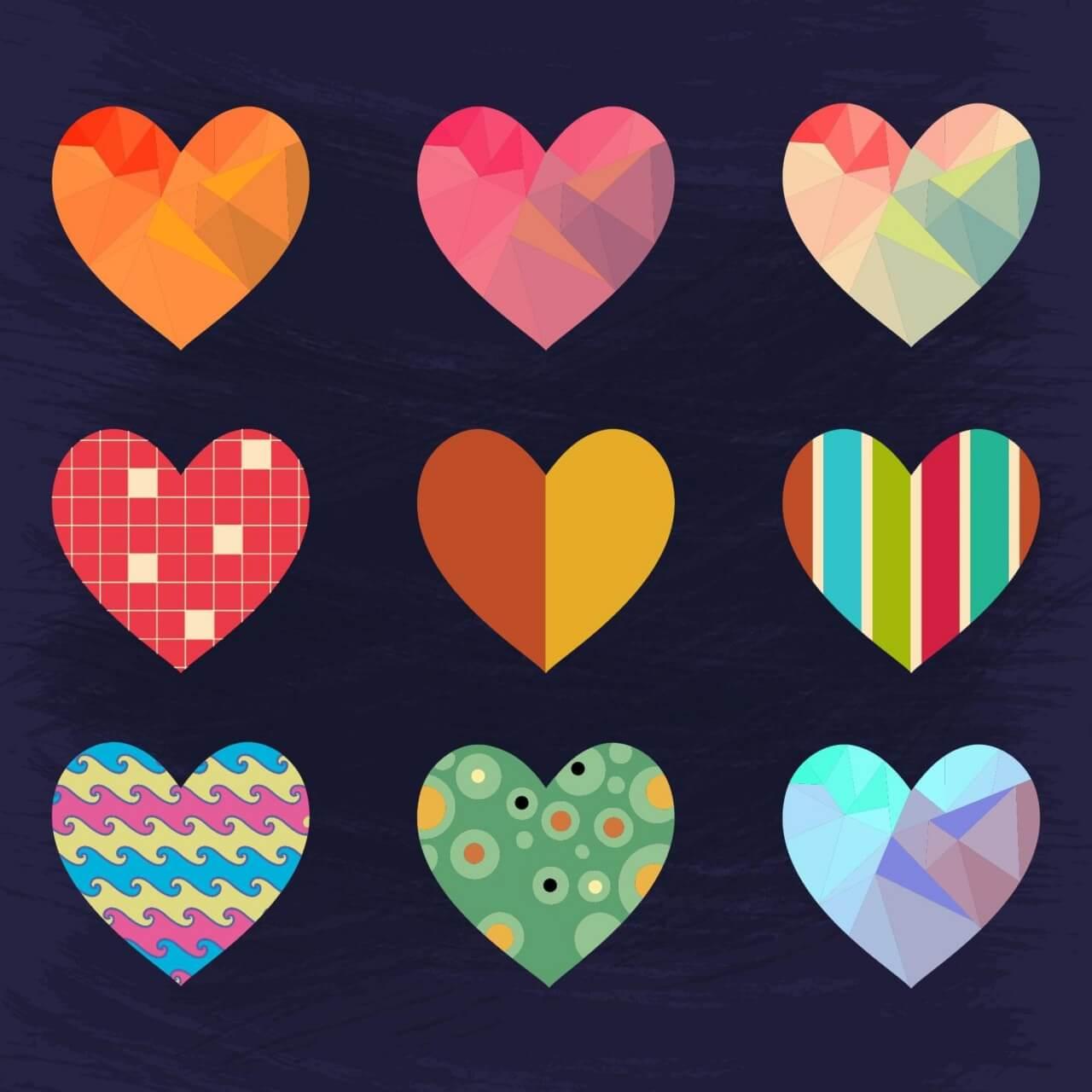"Free vector ""Set of Cute Hearts"""