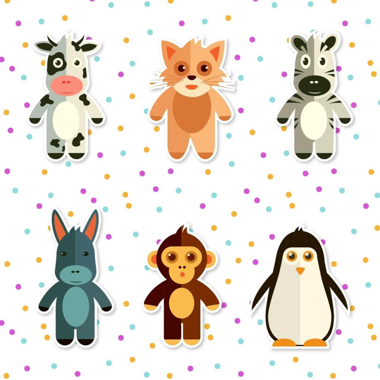 "Free vector ""Set of cute animals"""