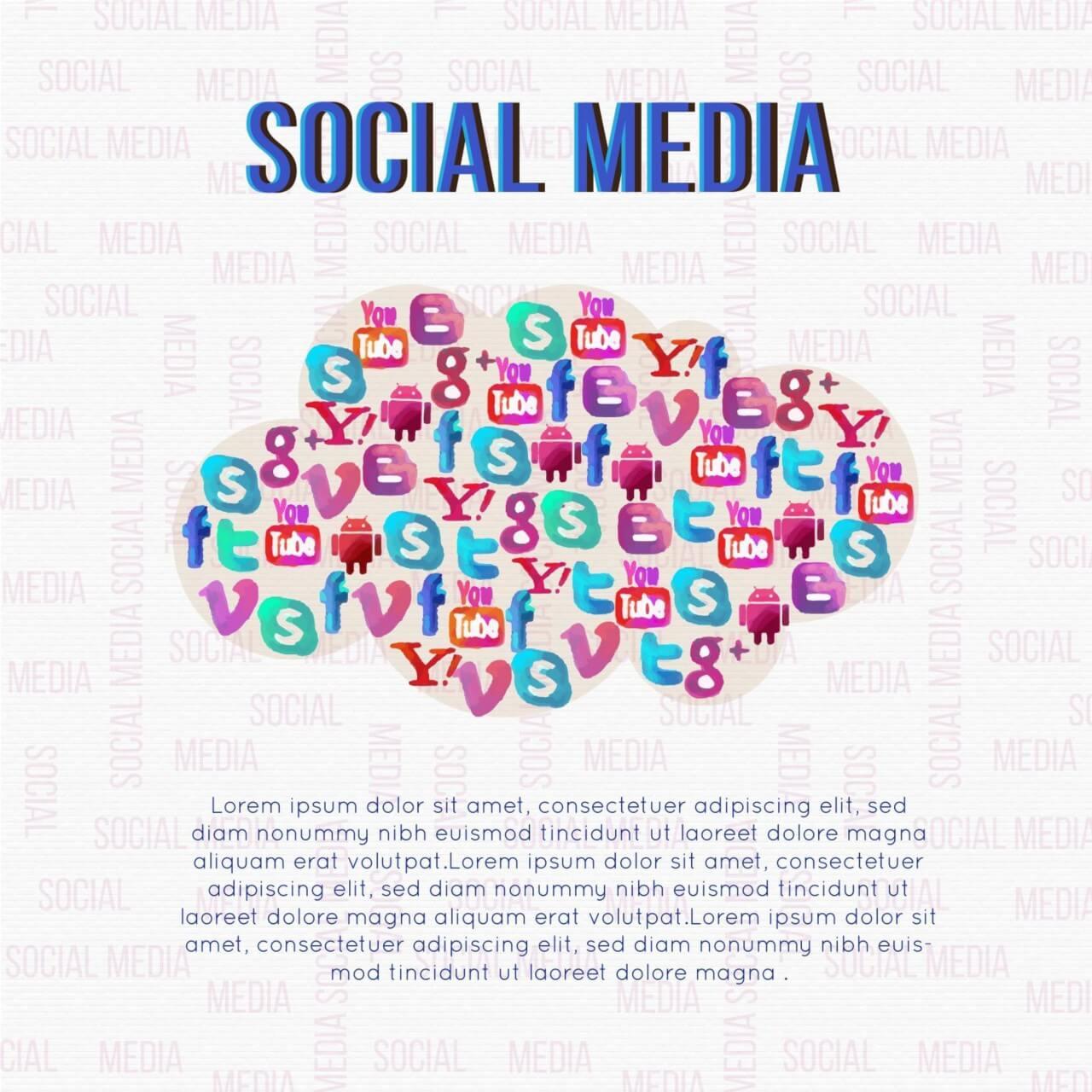 """Free vector """"Social Media Cloud Illustration"""""""